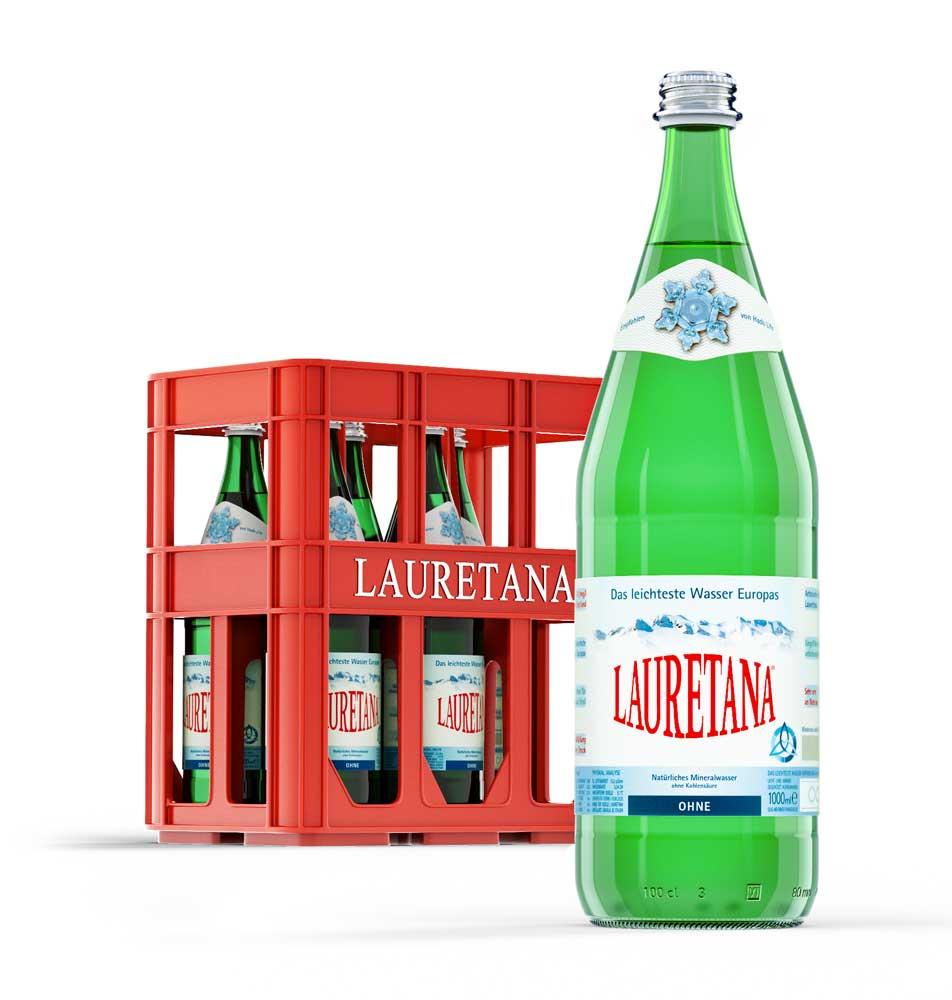Lauretana 1l Glasflasche und Kiste